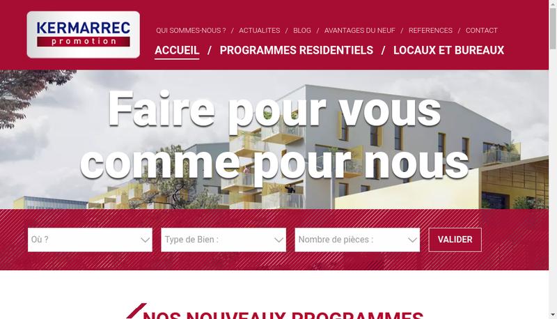 Capture d'écran du site de Kermarrec Promotion