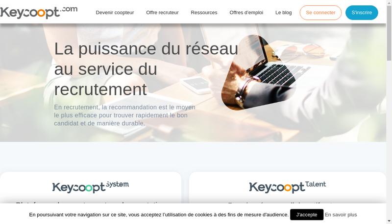 Capture d'écran du site de Keycoopt