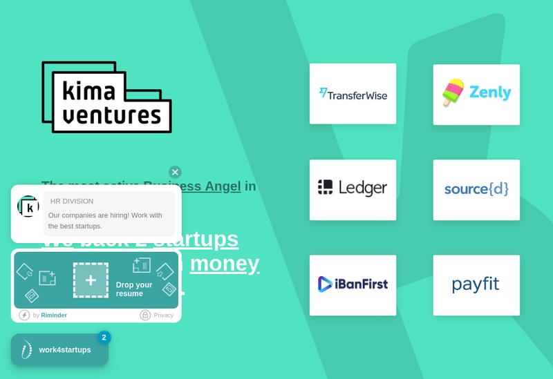 Capture d'écran du site de Kima Ventures