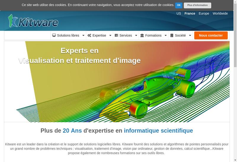 Capture d'écran du site de Kitware SAS