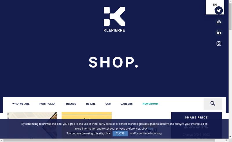 Capture d'écran du site de Klepierre