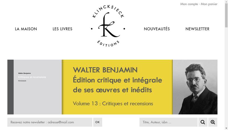 Capture d'écran du site de Librairie C Klincksieck et Compagnie