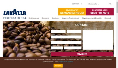 Site internet de Lavazza Professional France