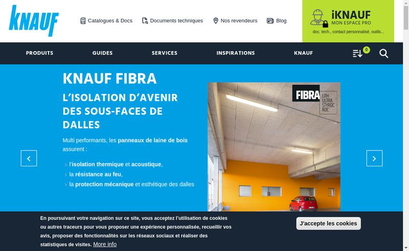 Capture d'écran du site de Knauf Platres & Cie