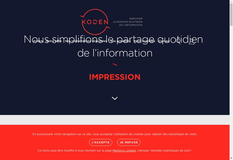 Capture d'écran du site de Koden