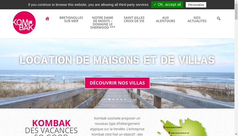 Capture d'écran du site de Kombak