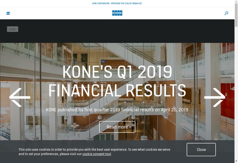Capture d'écran du site de KONE