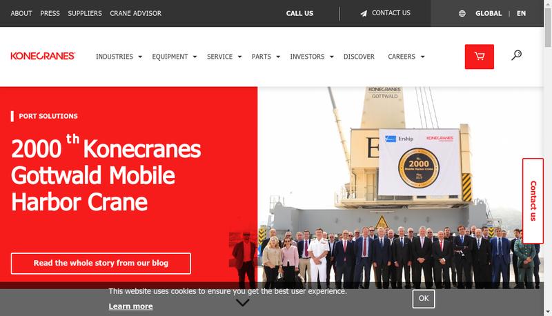 Capture d'écran du site de Konecranes (France)