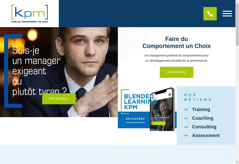 Capture d'écran du site de KPM