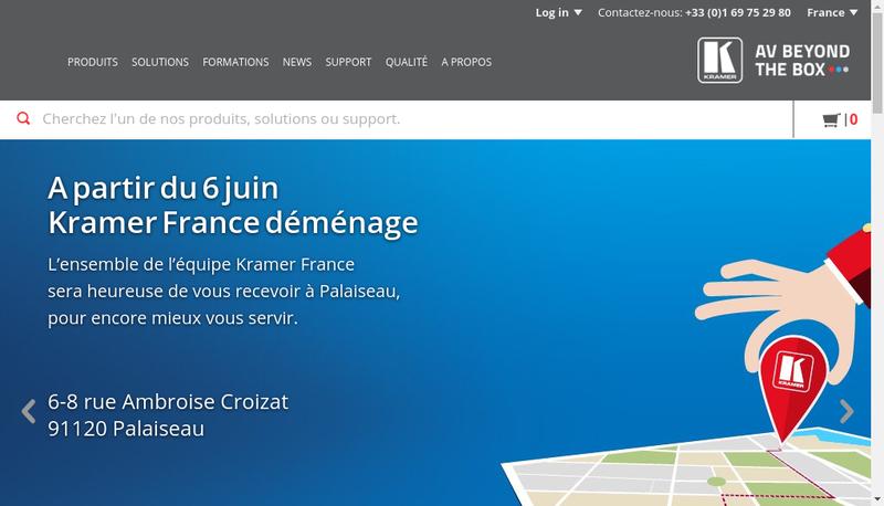 Capture d'écran du site de Kramer Electronics France