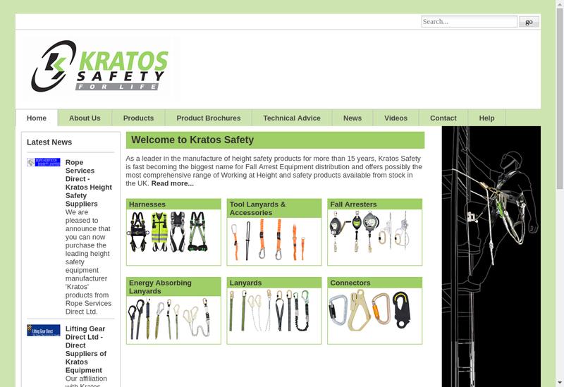 Capture d'écran du site de Kratos Safety