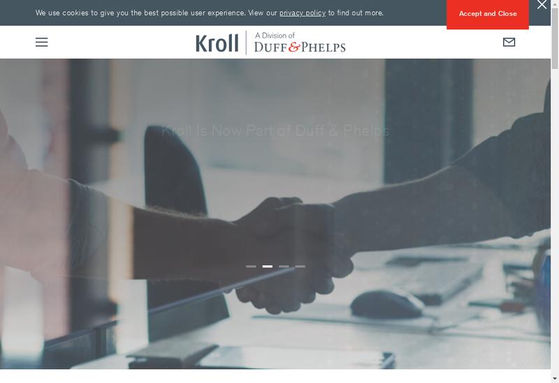 Capture d'écran du site de Kroll Associates