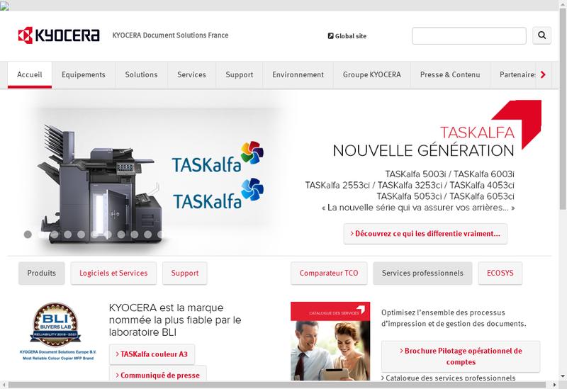 Capture d'écran du site de Kyocera