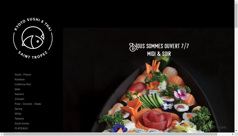 Capture d'écran du site de Kyoto Sushis et Thai