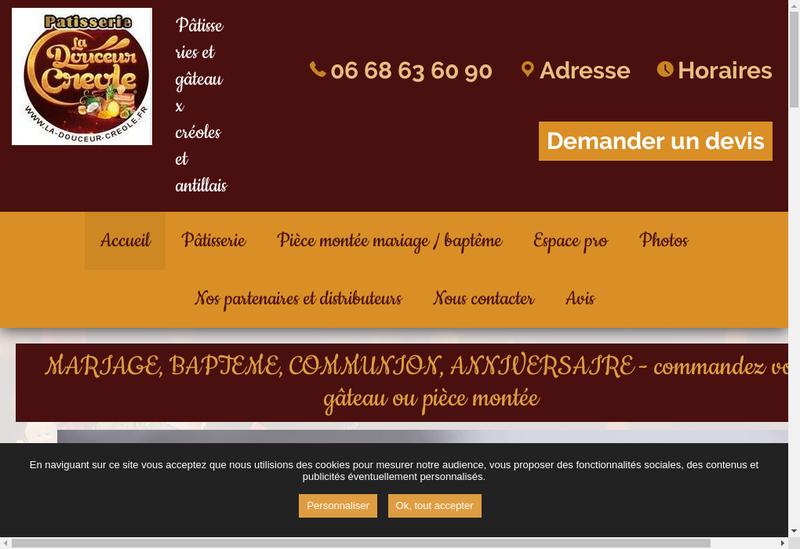 Capture d'écran du site de La Douceur Creole