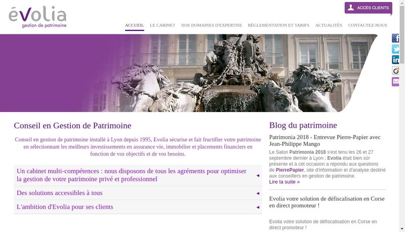 Capture d'écran du site de Evolia