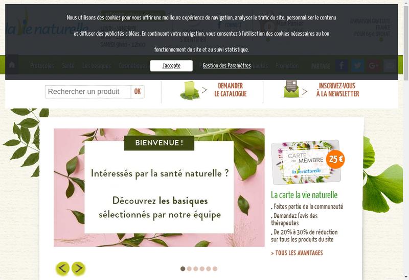 Capture d'écran du site de La Vie Naturelle
