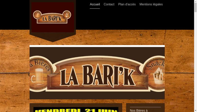 Capture d'écran du site de SARL la Bari'K