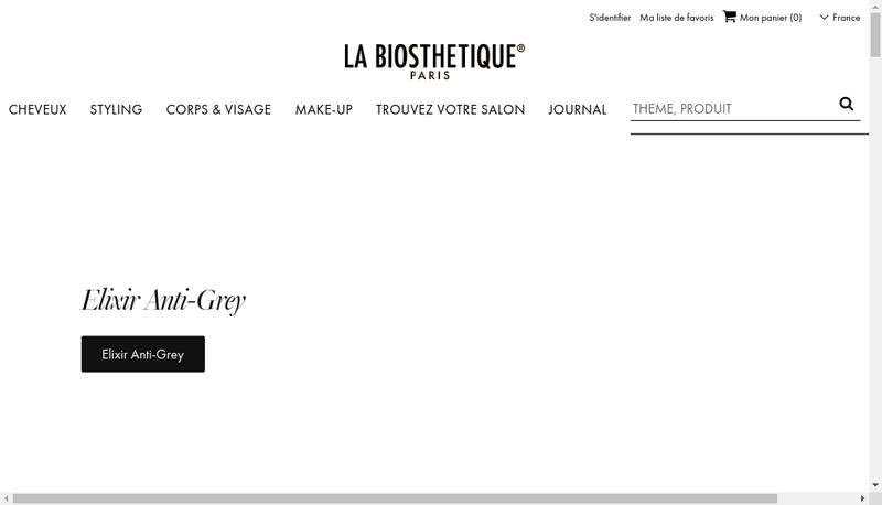 Capture d'écran du site de La Biosthetique Marcel Contier