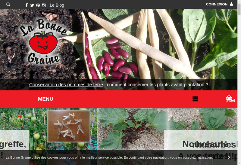 Capture d'écran du site de La Bonne Graine