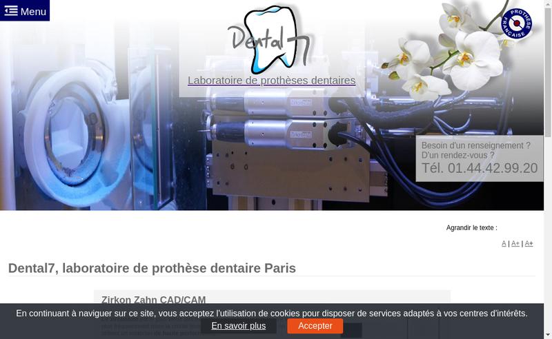 Capture d'écran du site de Dental 7