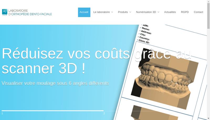 Capture d'écran du site de Laboratoire d'Orthodontie Rouvre