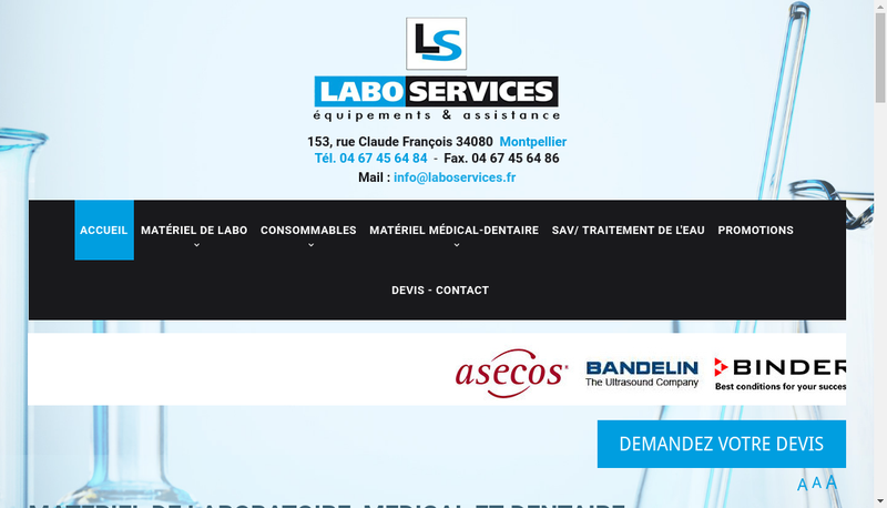 Capture d'écran du site de Labo Services