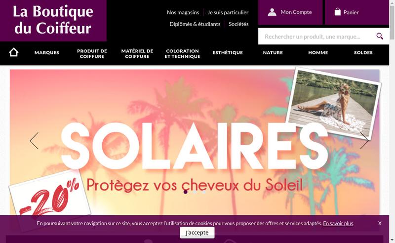 Capture d'écran du site de La Boutique du Coiffeur