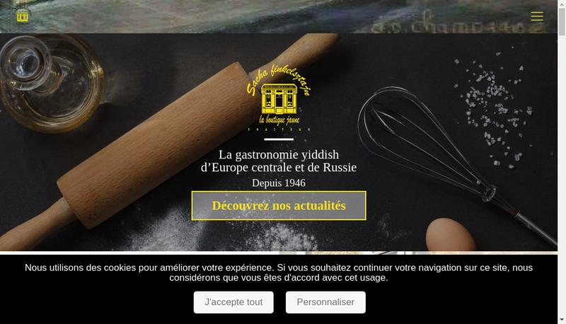 Capture d'écran du site de Sacha Finkelsztajn la Boutique Jaune