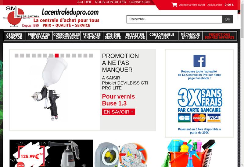 Capture d'écran du site de SM Distribution
