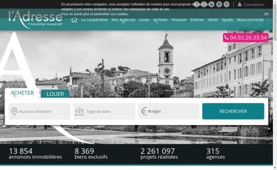 Site internet de L'Adresse Saint Roch Immobilier