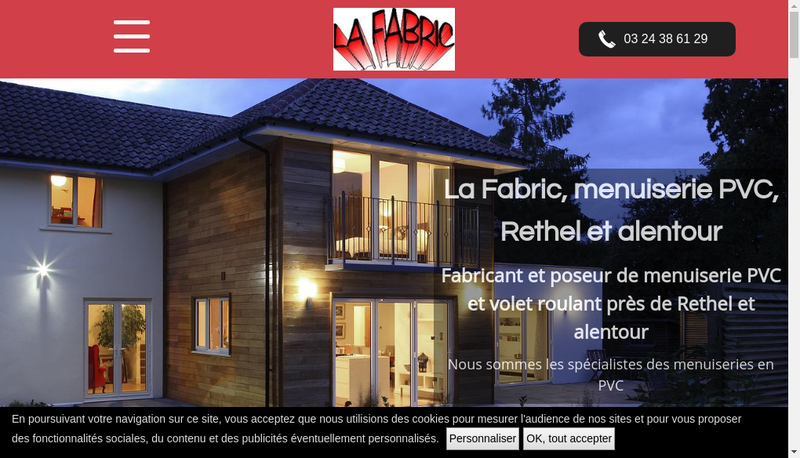 Capture d'écran du site de SARL la Fabric