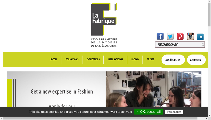 Capture d'écran du site de Maroquinerie la Fabrique