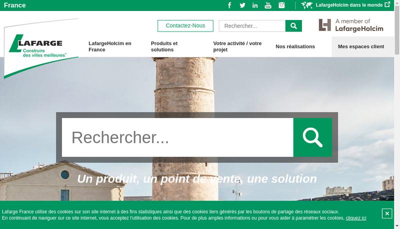 Capture d'écran du site de Lafargeholcim Distribution