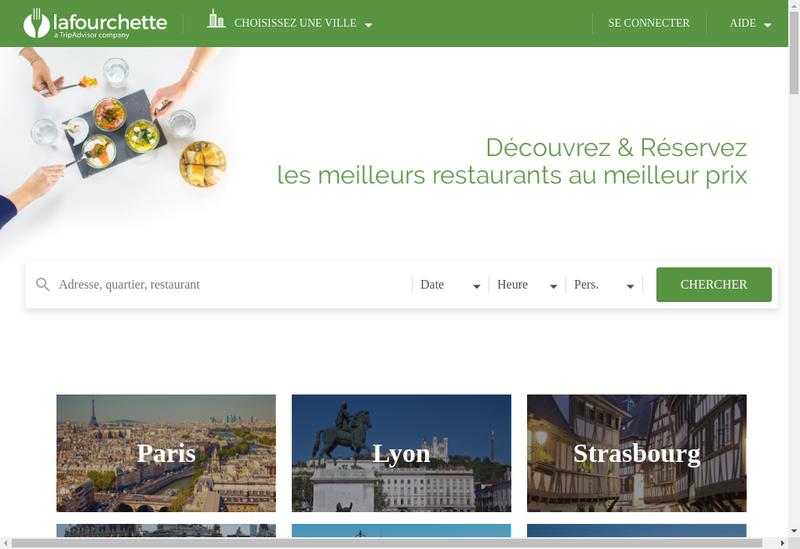 Capture d'écran du site de La Fourchette