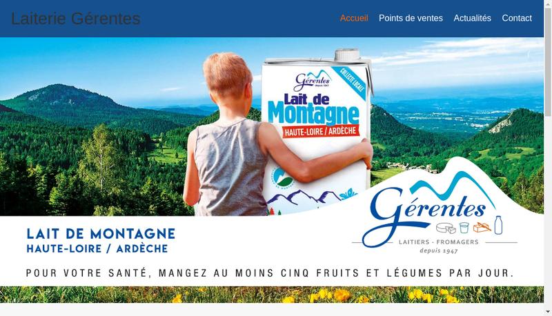 Capture d'écran du site de Laiterie des Monts Yssingelais Fromage