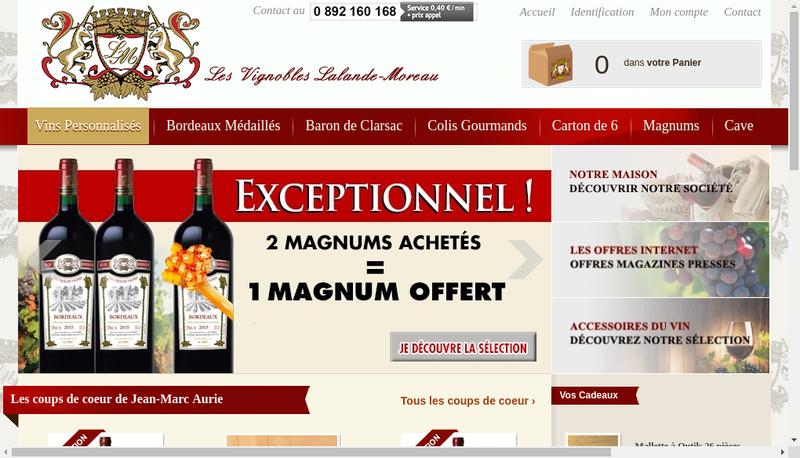 Capture d'écran du site de Les Vignobles Lalande Moreau