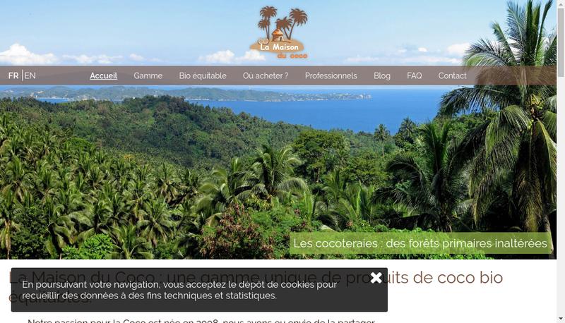 Capture d'écran du site de La Maison du Coco