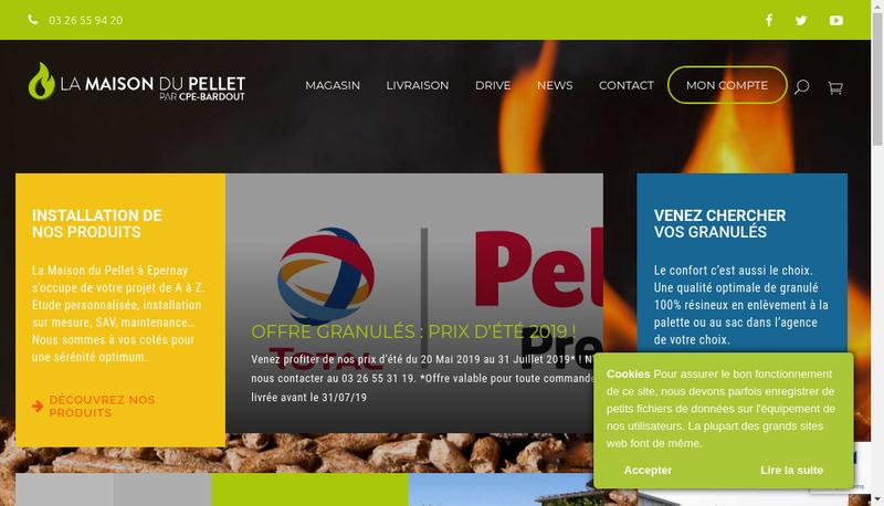 Capture d'écran du site de La Maison du Pellet