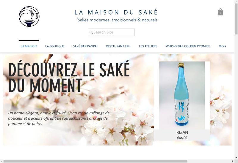 Capture d'écran du site de La Maison du Sake