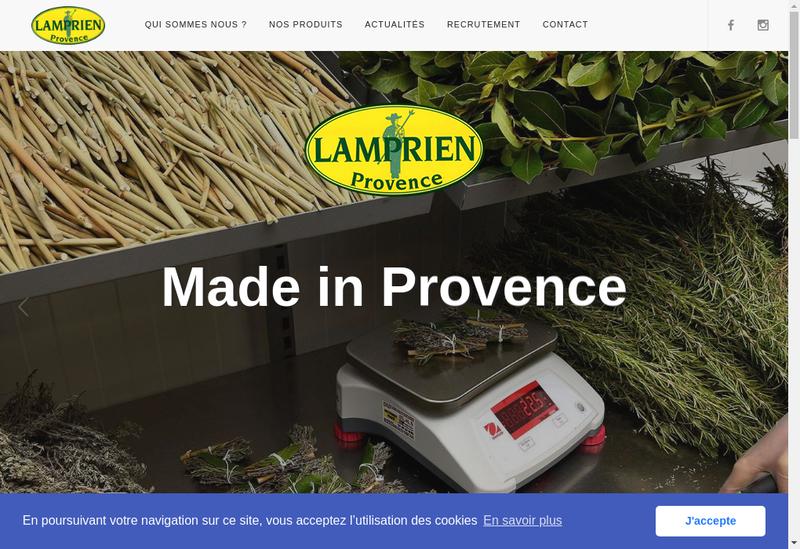 Capture d'écran du site de Lamprien Provence