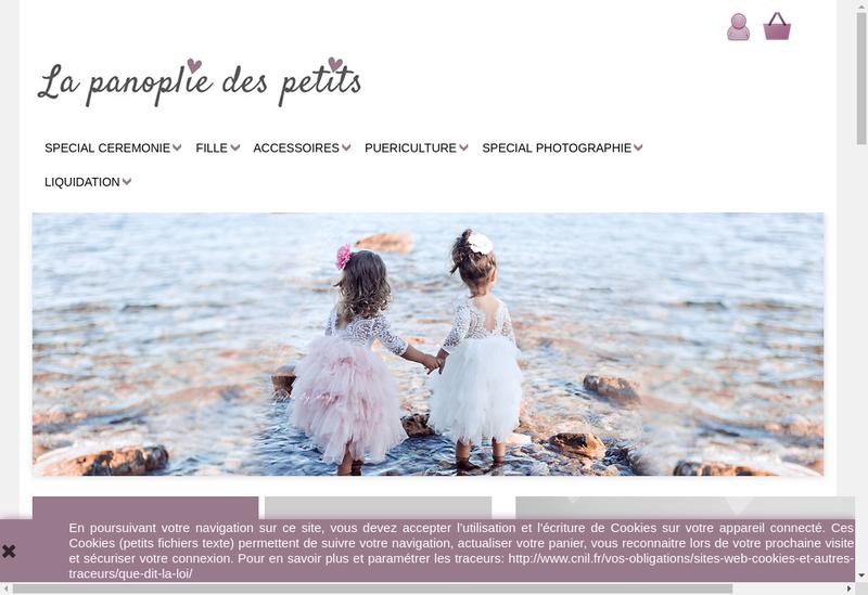 Capture d'écran du site de La Panoplie des Petits