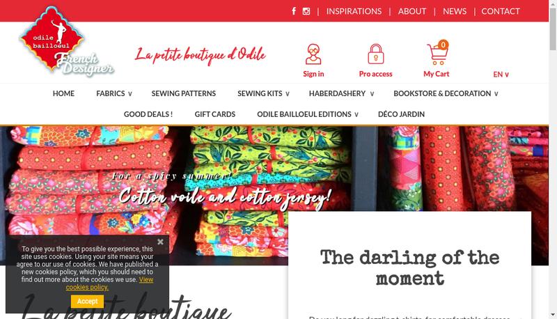 Capture d'écran du site de Odile Bailloeul Creations