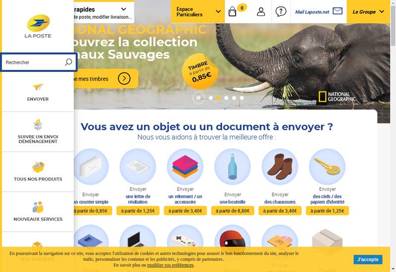 Capture d'écran du site de La Poste