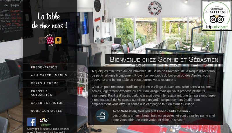 Capture d'écran du site de La Table de Chez Nous