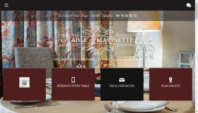 Site internet de La Table de Marinette
