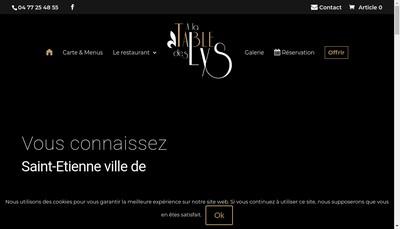 Site internet de A la Table des Lys