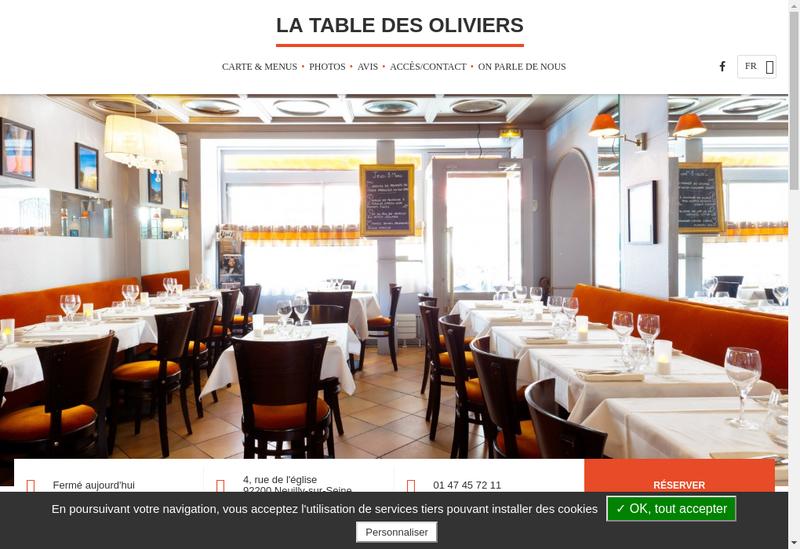 Capture d'écran du site de La Table des Oliviers