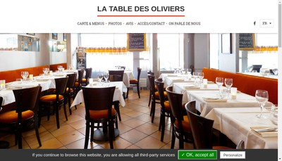 Site internet de La Table des Oliviers