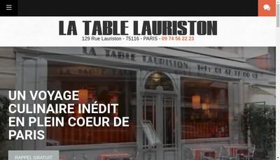 Site internet de La Table Lauriston